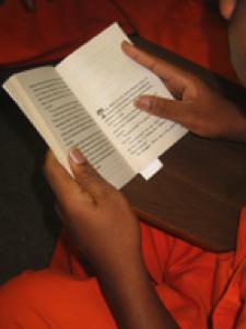 Book Club member reading book