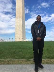 Nick stands in front of the Washington Monument