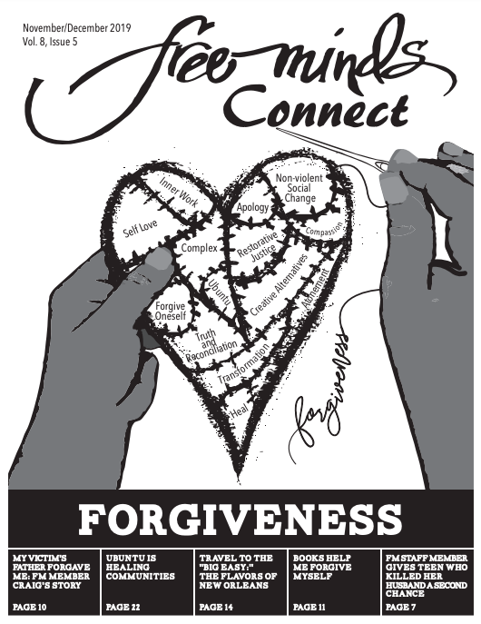 Cover art for the Free Minds Connect, Forgiveness issue: Hands stitching together pieces of a heart.