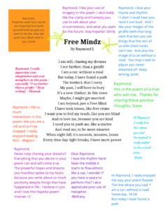 A page with a poem in the center of the page, and brightly colored, typed comments all around it