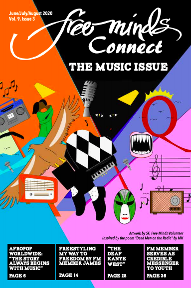 Free Minds Connect: The Music Issue. A brightly colored collage style page with images such as a piano, a dancing couple, musical notes, a boombox.