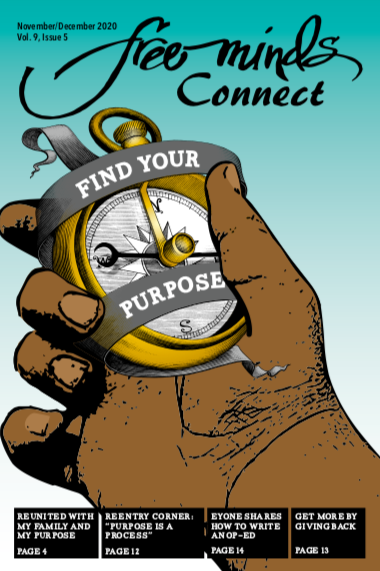 Cover image of the Free Minds Connect: a hand holding a compass that says Find Your Purpose, against a blue background