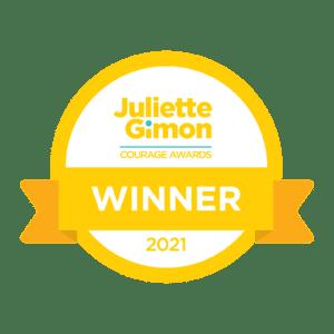 Icon that says Juliette Gimon Courage Award Winner 2021