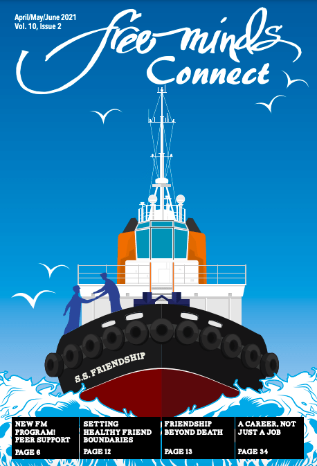 Free Minds Connect: Friendship. A boat with the text SS Friendship moves across blue waves.