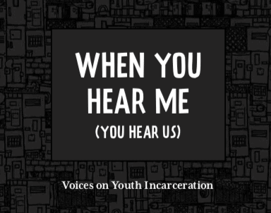 Title page of a book. Text reads When You Hear Me (You Hear Us): Voices on Youth Incarceration. The text is in white against a dark background with a repeating motif of doors.